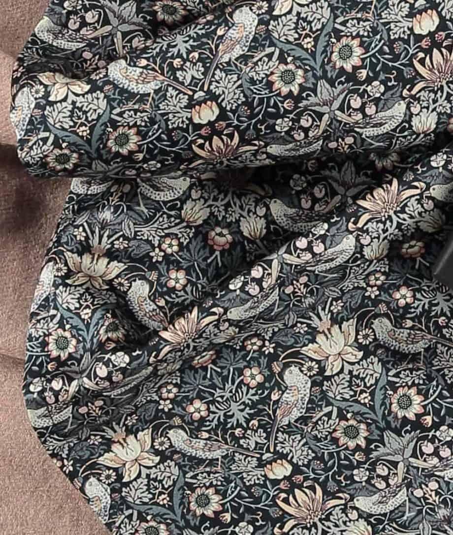 liberty fabric strawberry thief rose beige