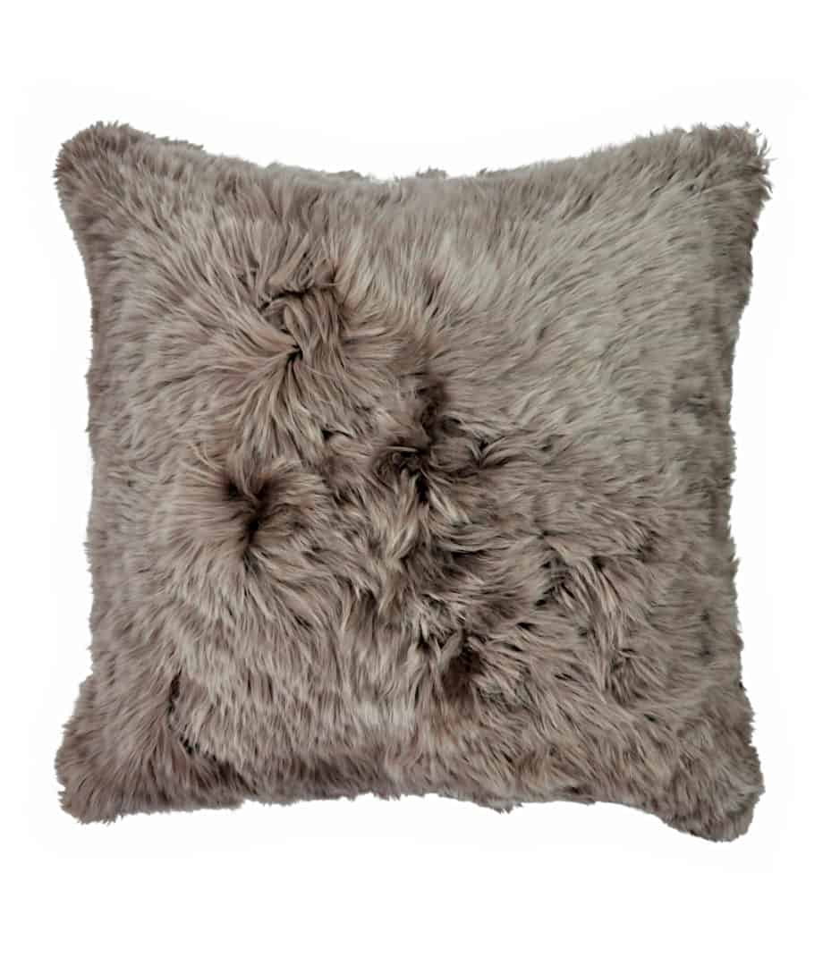 suri alpaca fur brown cushion