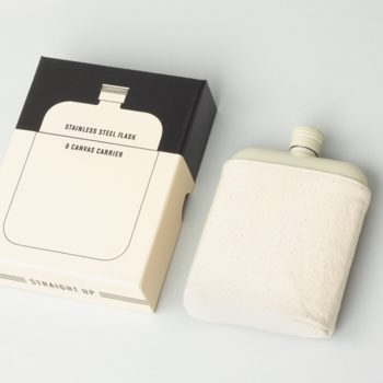 cream flask in canvas camping