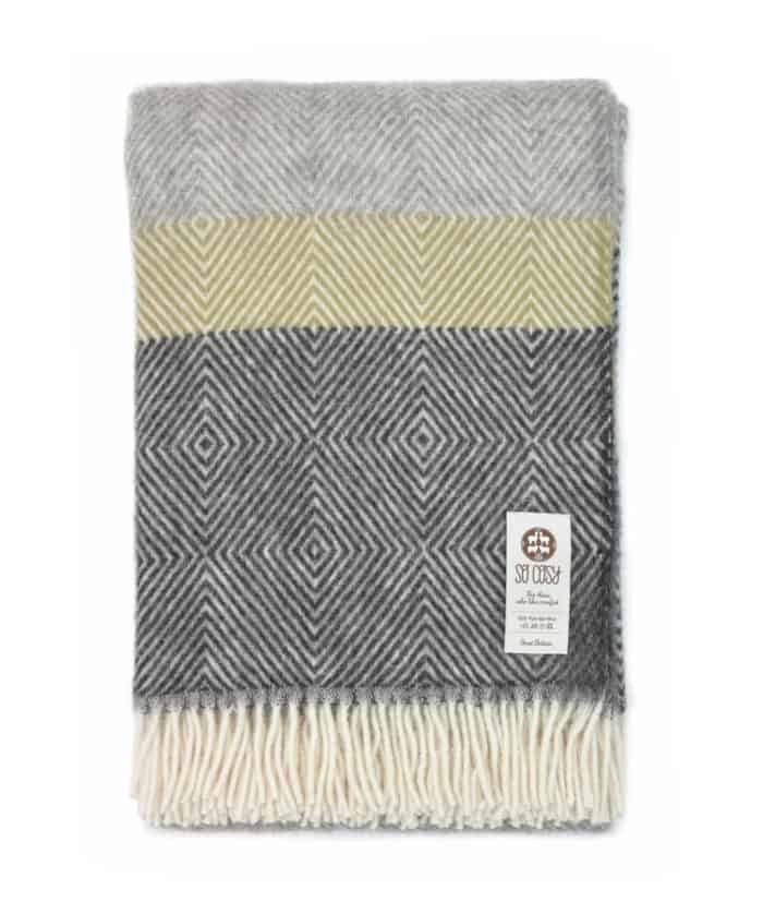 Gotland wool Donny throw blanket in shades of grey pale silver & dark charcoal