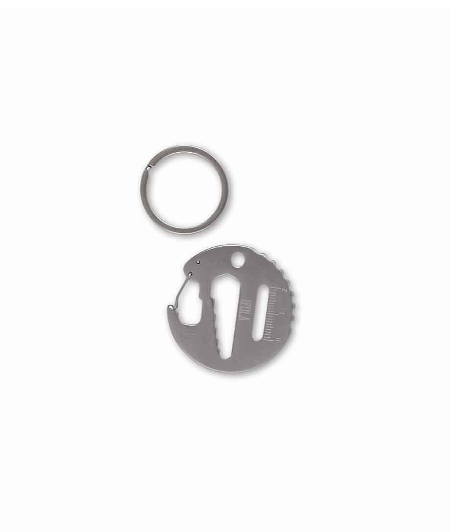 multi purpose traveler's keyring, sprocket, butterfly wrench, hex wrench, carabiner and bottle opener