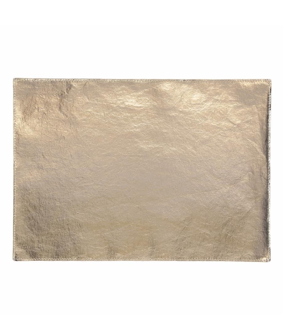 coated placemat in metallic platinum