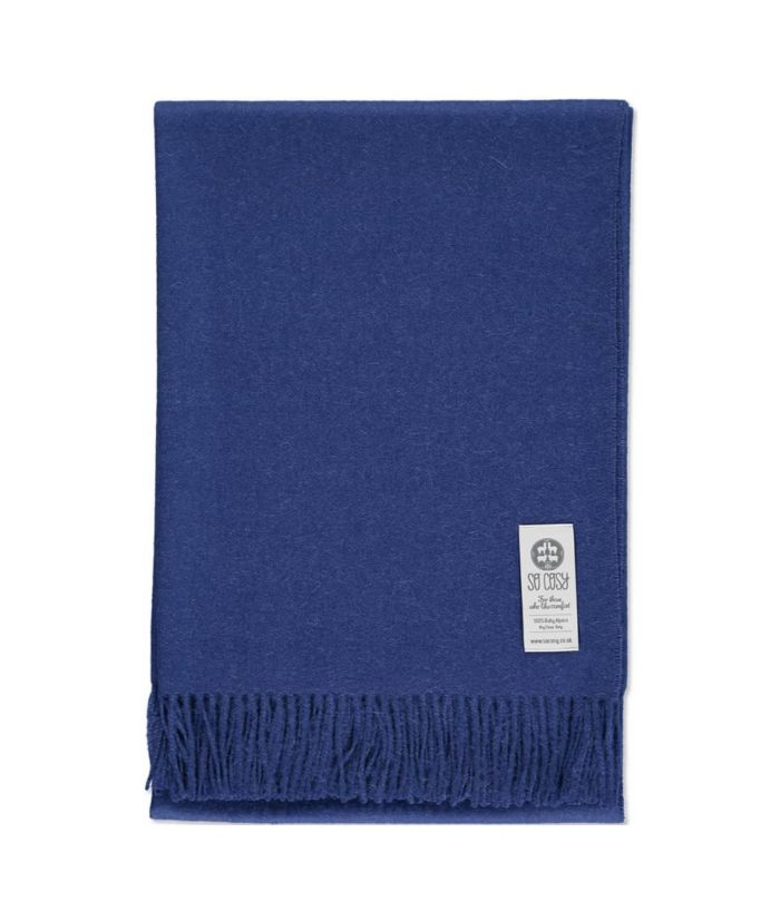 super soft and light weight baby alpaca wool throw in ribbon blue colour