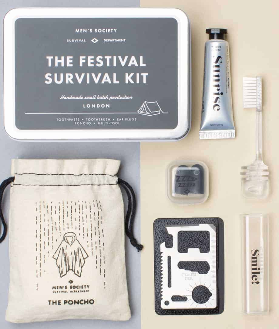 the festival survival kit toothpaste toothbrush earplugs poncho multi tool