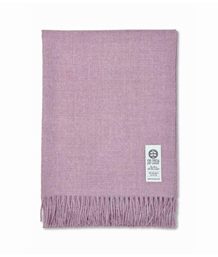 chalk pink melange soft baby alpaca wool throw wrap