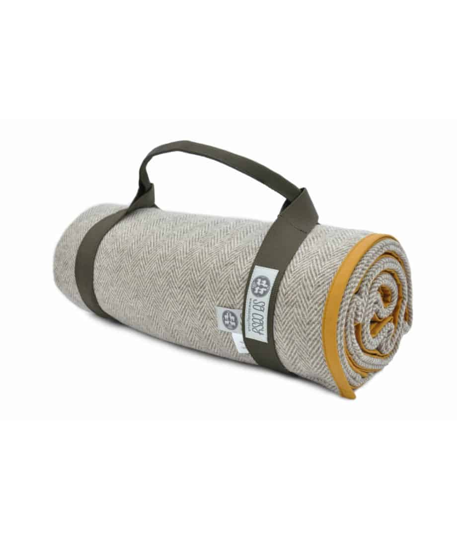 the best quality picnic blanket in mustard and brown colour combination with straps