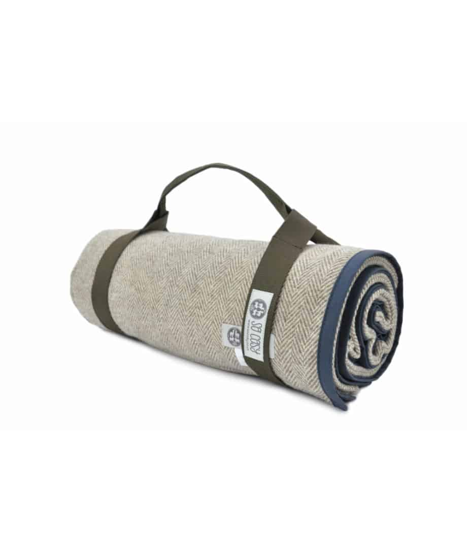 navy night waxed cotton and pure wool the best quality picnic blanket by so cosy
