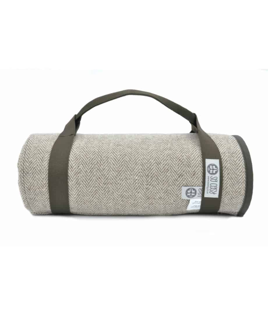 olive green waxed cotton and pure wool roll up picnic blanket by so cosy