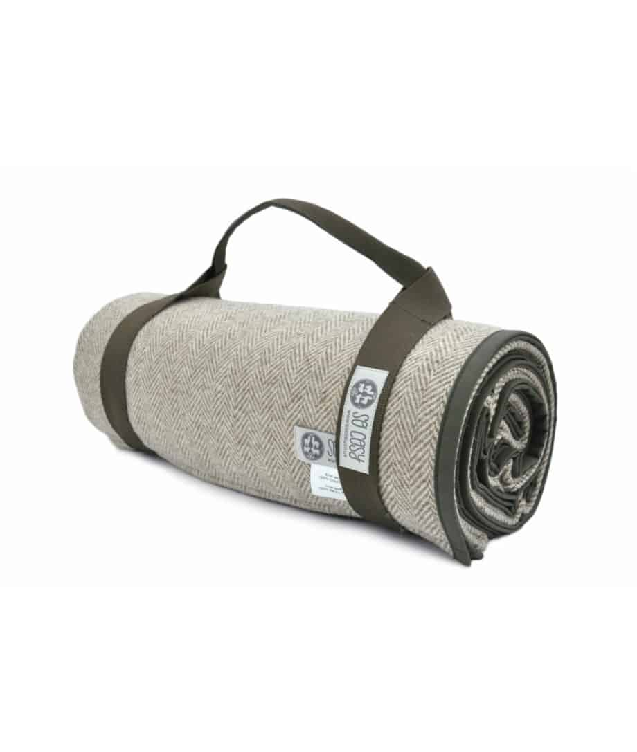 roll up quality picnic blanket in olive green colour by so cosy