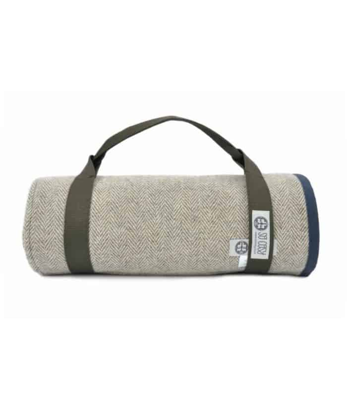 navy nigh colour waxed cotton and pure wool quality picnic blanket