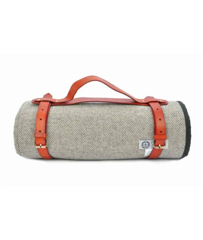 waxed cotton and natural wool tweed quality picnic roll up blanket by so cosy