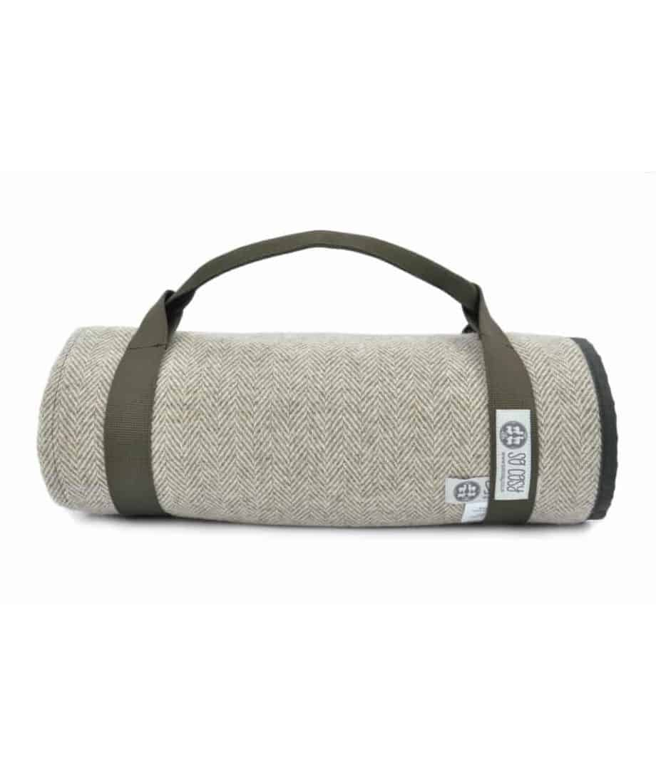 roll up picnic blanket with waterproof wax underside and pure wool upper