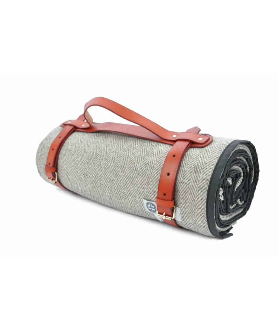 seaweed waxed cotton and pure wool quality picnic blanket with leather straps
