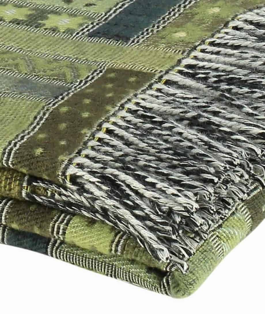 olive green merino wool throw close up
