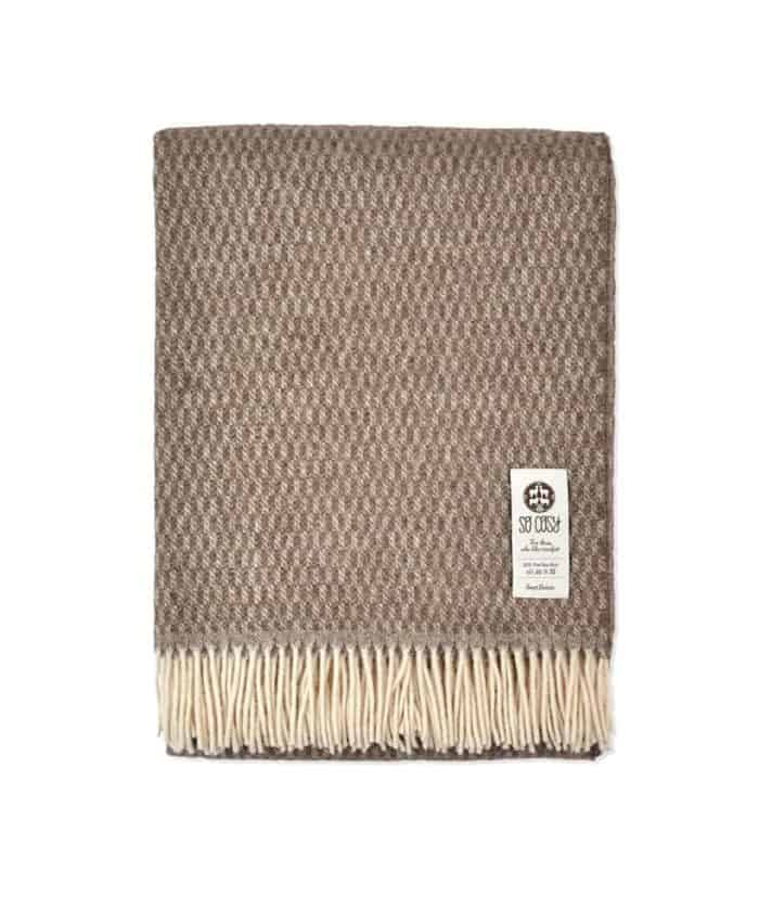 tobacco brown cream cosy textured throw pure new wool