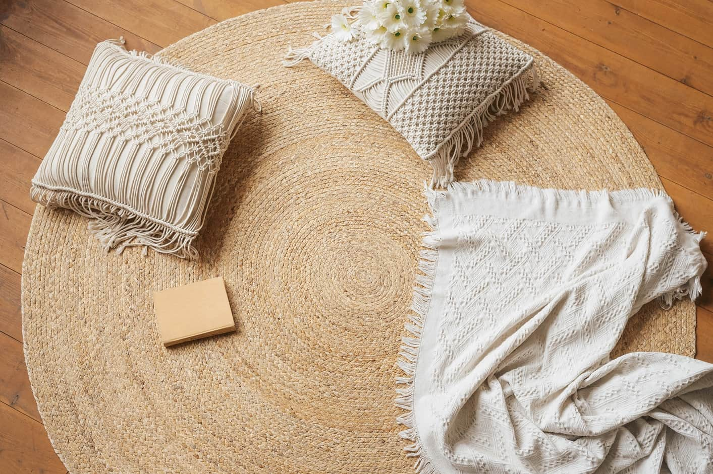 a cozy place to read on the floor jute woven