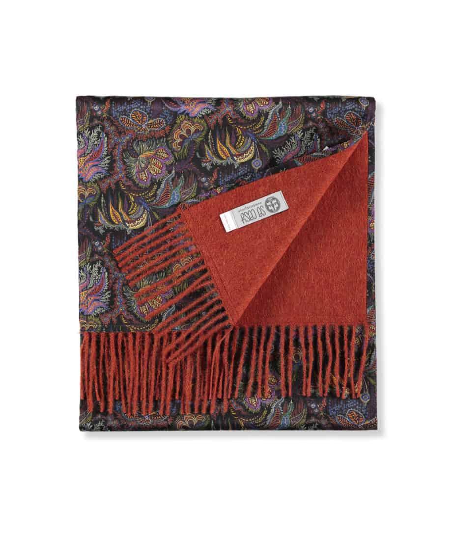 orange scarf liberty paisley corals print