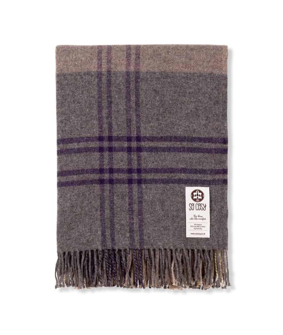 soft alpaca and merino wool blend check sofa throw