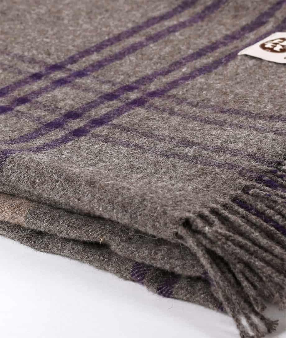 taupe beige purple colour alpaca merino wool plad throw