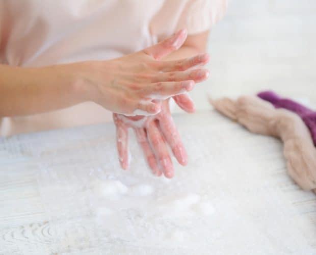 working process wet felting instructions handcraft concept creative woman making