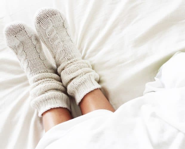 Repairing hand knitted socks