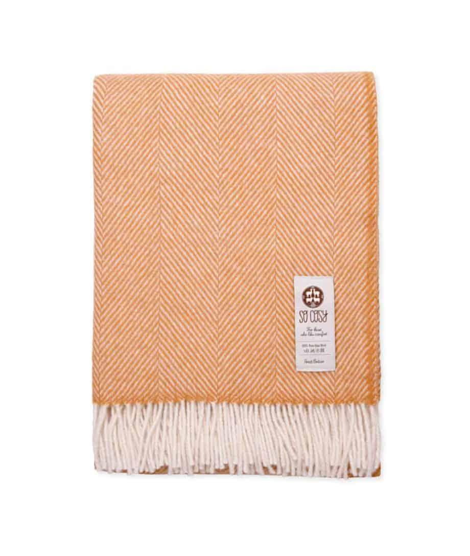 dani dutch orange white herringbone throw pure wool