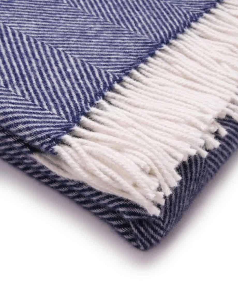 dani herringbone throw close up image night blue white