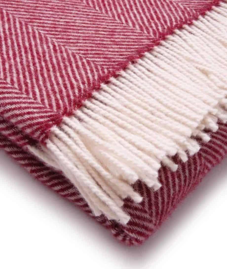 pure new wool herringbone throw in crimson red white