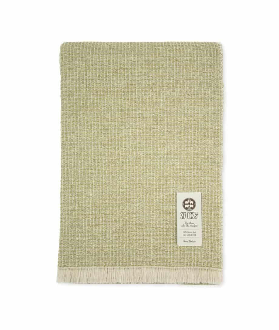 Green and beige fine merino wool throw