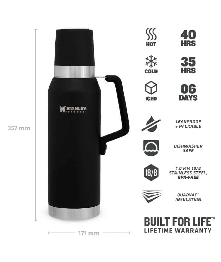 stanley 1.3L unbreakable thermal bottle matt black specifications online