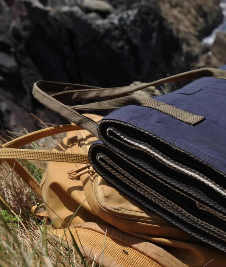 wax cotton violet navy eco wool picnic blanket