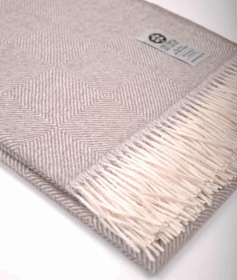 pure baby alpaca wool throw diamonds cafe au lait colour buy online