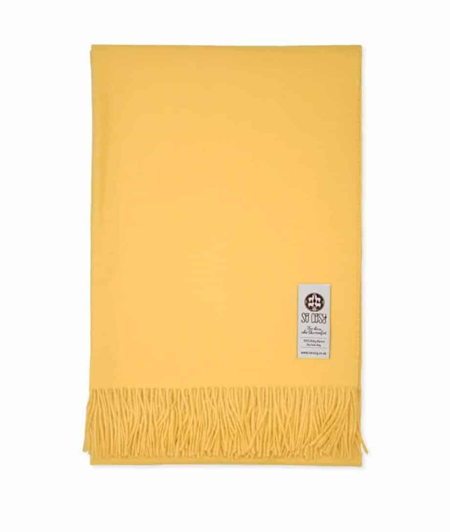 emma solid saffron yellow baby alpaca throw wrap online