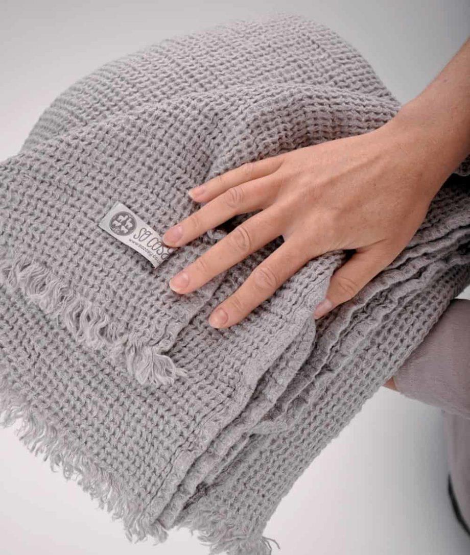 cosy natural linen grey blanket throw uk
