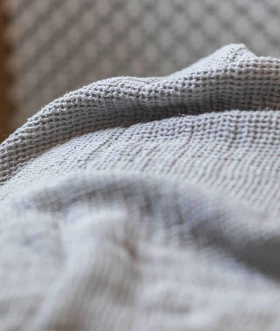granite dust grey waffle soft washed natural linen bed sofa throw blanket
