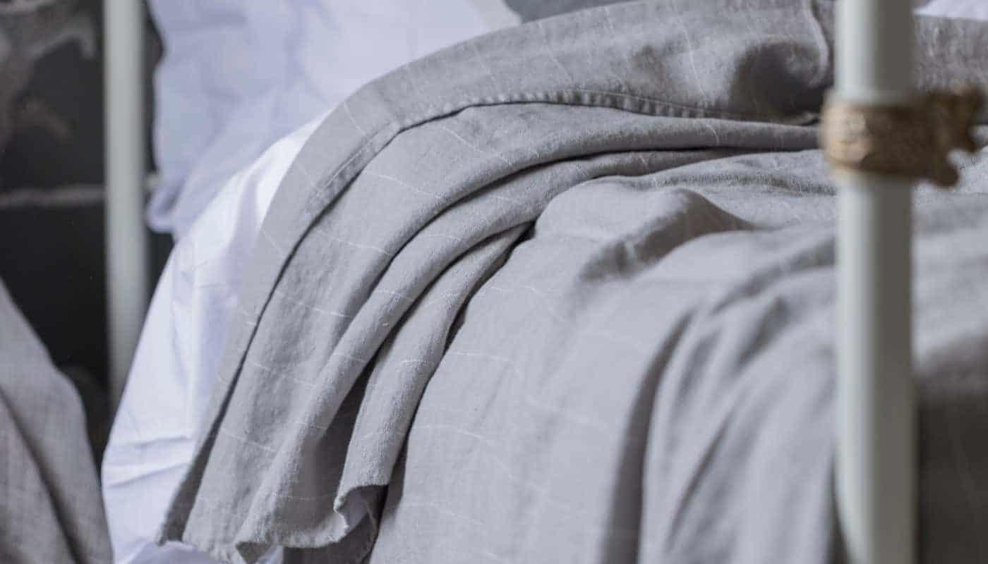 lunar grey natural linen cosy throw blanket stripy design