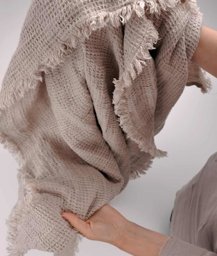 washed soft natural linen throw blanket in waffle design