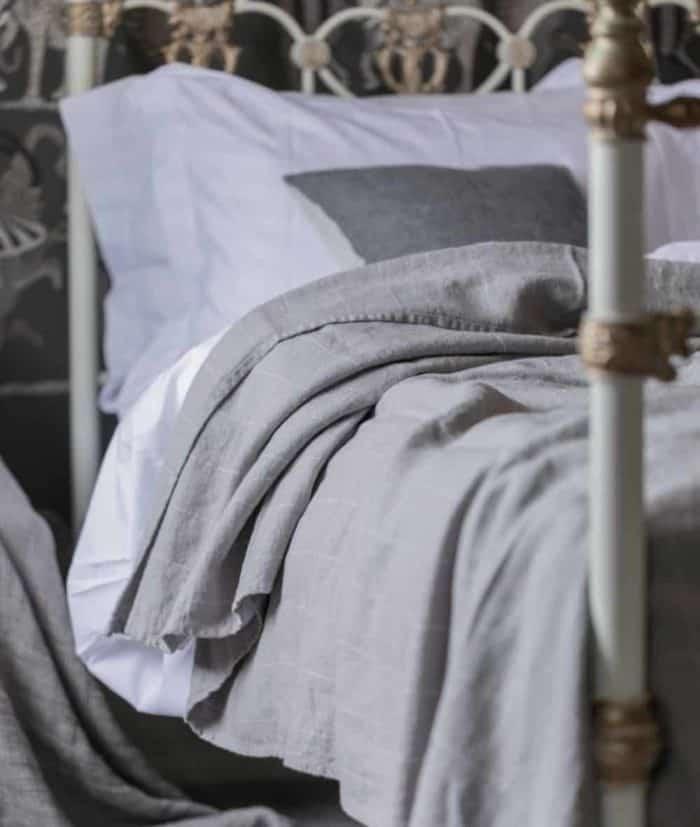 grey linen bedspread blanket