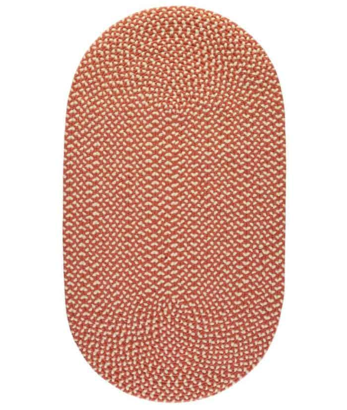 paprika colour eco recycling plastic rug oval