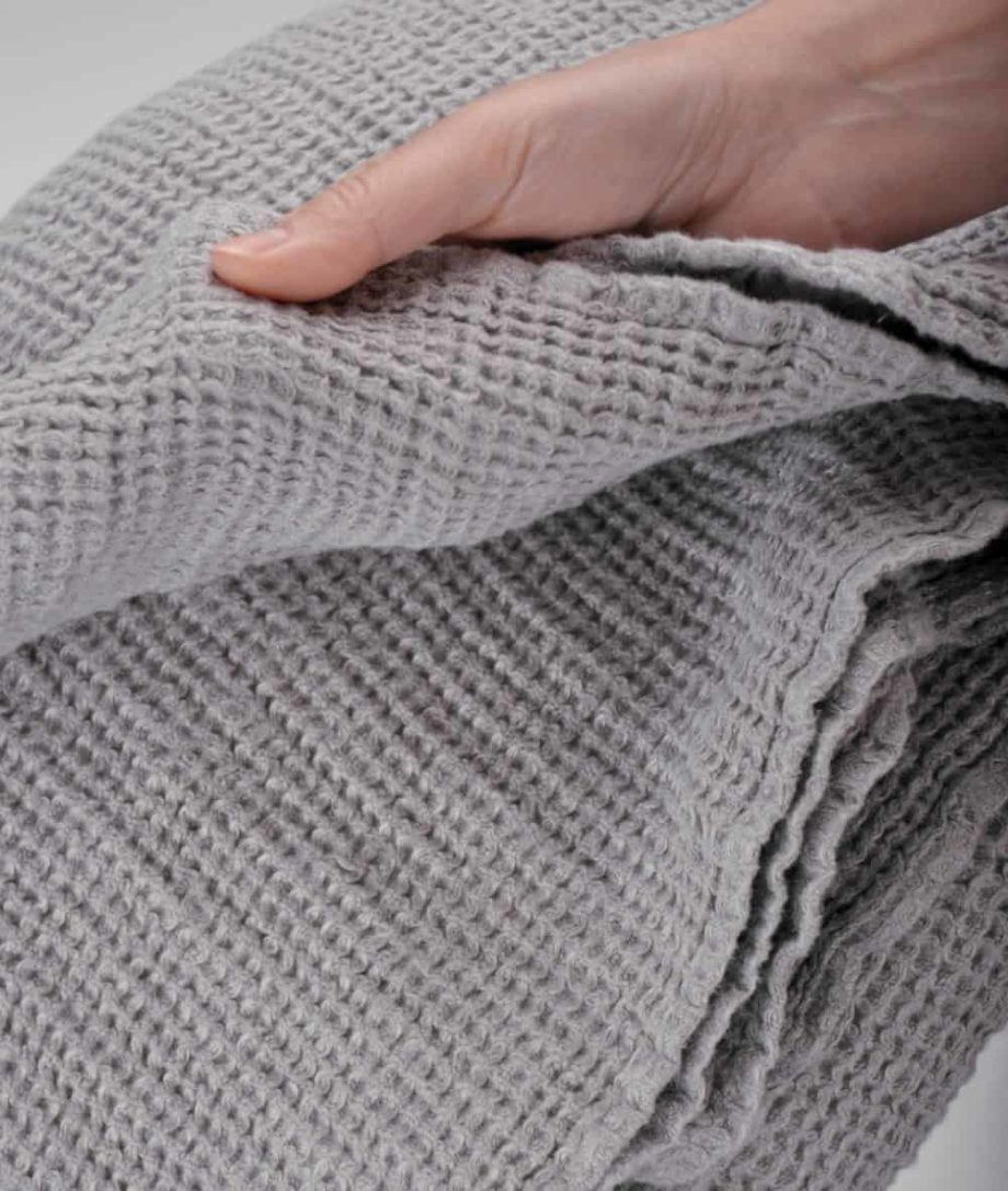 quality natural linen cosy grey bed sofa throw blanket