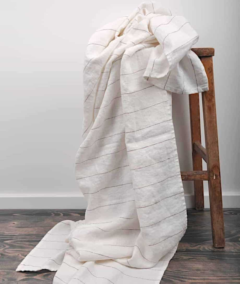 soft linen throw in off white