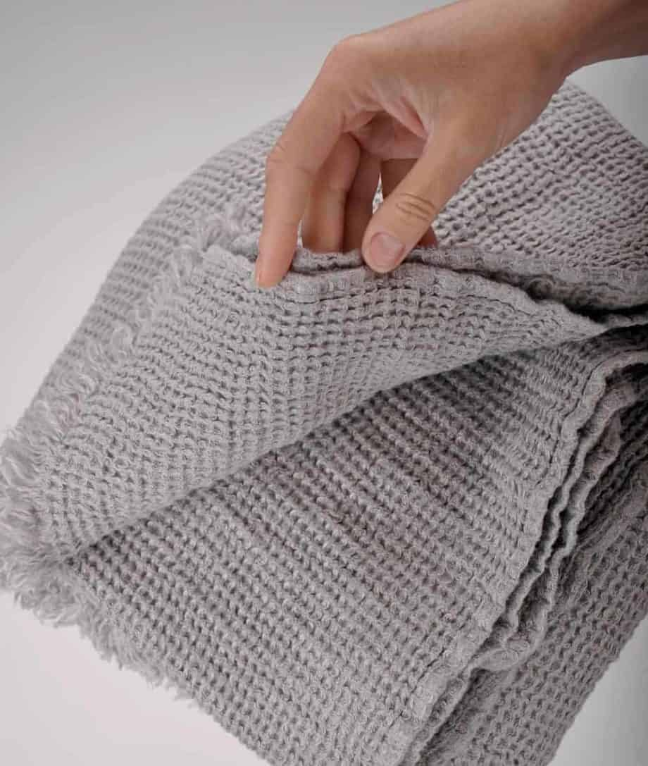 grey linen throw with textured feel
