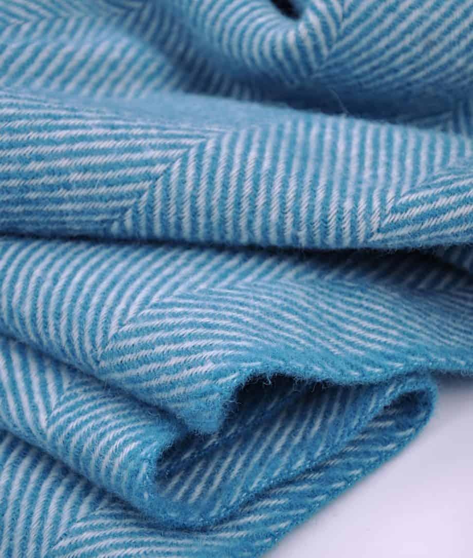 jelly-bean-blue-colour-herringbone-cosy-throw-blanket